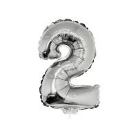 2 szám alakú fólia lufi, ezüst, 41,6 cm 84773