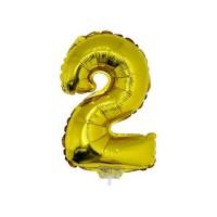 2 szám alakú fólia lufi, arany, 41,6 cm 84774
