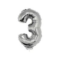 3 szám alakú fólia lufi, ezüst, 41,6 cm 84775