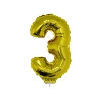 3 szám alakú fólia lufi, arany, 41,6 cm 84776