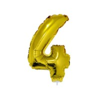 4 szám alakú fólia lufi, arany, 41,6 cm 84778