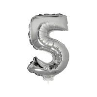 5 szám alakú fólia lufi, ezüst, 41,6 cm 84779