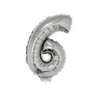 6 szám alakú fólia lufi, ezüst, 41,6 cm 84781