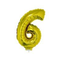 6 szám alakú fólia lufi, arany, 41,6 cm 84782