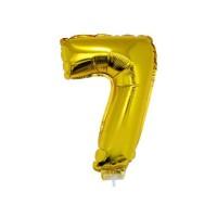 7 szám alakú fólia lufi, arany, 41,6 cm 84784