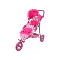 3kerekű játék ikerbabakocsi pink 83,5x41x78cm9383