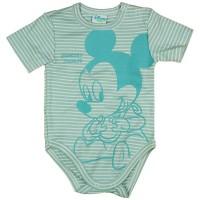 Biopamut rövid ujjú baba body Mickey egér mintával kék