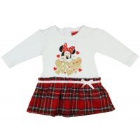 Disney Minnie alul kockás  hosszú ujjú lányka ruha fehér masnis