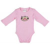 Cicus hosszú ujjú baba body rózsaszín