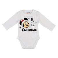 Disney Minnie My first christmas feliratos karácsonyi hosszú ujjú baba body fehér