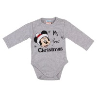 Disney Minnie My first christmas feliratos karácsonyi hosszú ujjú baba body szürke