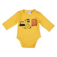 Autós hosszú ujjú baba body sárga