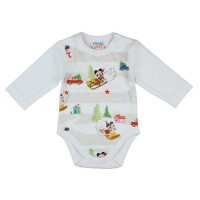 Disney Mickey és Minnie karácsonyi hosszú ujjú baba body fehér