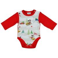 Disney Mickey és Minnie karácsonyi hosszú ujjú baba body piros