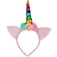Unikornis fejpánt - rózsaszín