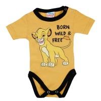 Rövid ujjú baba body Oroszlánkirály mintával sárga