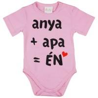 anya+apa=ÉN feliratos rövid ujjú baba body rózsa