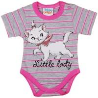 Disney Marie cica rövid ujjú baba body szürke