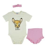 Rövidnadrágos kislány babaruha szett Bambi mintával