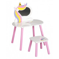 FreeON fa fésülködő asztal tükörrel, 1 db székkel - Unikornis multicolor